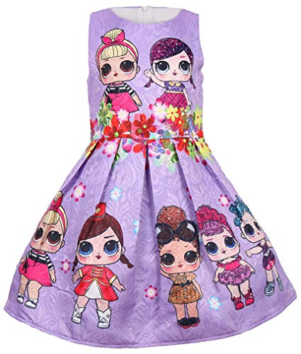 WNQY Girls Surprise Princess Costume Doll Digital Print Party Gown Dress for Doll Surprised (Purple,130/5-6Y) -