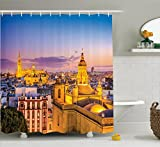 Ambesonne European Cityscape Decor Collection, City Skyline in Spain Old Mediterranean Touristic Historic Nostalgic Print Home, Polyester Fabric Bathroom Shower Curtain, 84 Inches Extra Long, Multi