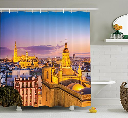 Ambesonne European Cityscape Decor Collection, City Skyline in Spain Old Mediterranean Touristic Historic Nostalgic Print Home, Polyester Fabric Bathroom Shower Curtain, 84 Inches Extra Long, Multi by Ambesonne