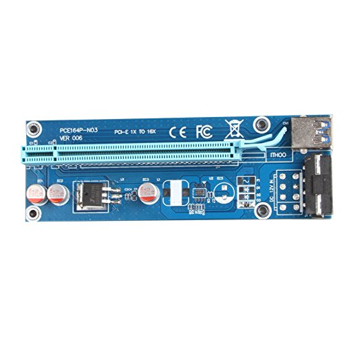 LINESO 6Pack PCIe VER 006 PCI-E 1X to 16X Powered Riser Adapter Card w/60 cm USB 3.0 Extension Cable & MOLEX to SATA Power Cable - GPU Riser Adapter Ethereum Mining ETH (6-Pack V006) by LINESO (Image #3)