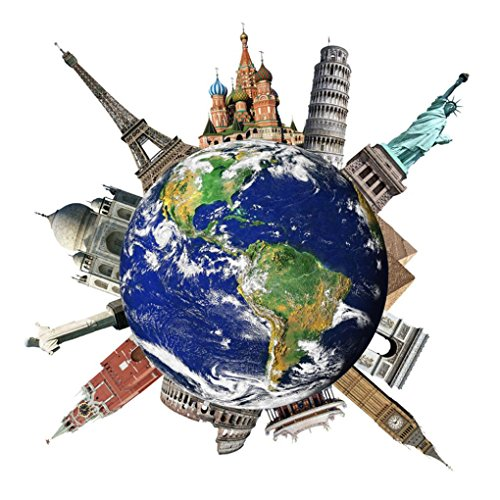 Highpot Travel Around the World Famous Landmarks Wall Sticker Removable Wall Decal Home Decor (B)