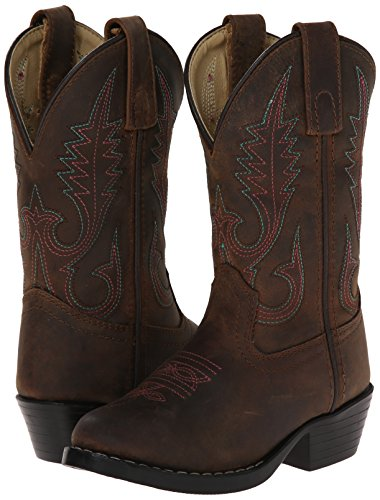 Smoky Mountain Kids Western Annie Rubber Sole Boots - Brown Distress Child 9