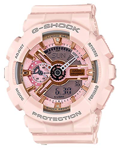 Casio G-Shock Gold and Pink Dial Pink Resin Quartz Ladies Watch GMAS110MP-4A1 (G Shock Rose Gold & Black Collection)