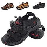ZHShiny Summer Sports Sandals Outdoor Men's Beach Shoes Leather Casual Fisherman Shoe Korean Breathable Water Sandal (US6=EU37,Suit 9.04''-9.24'' Foot, Black)