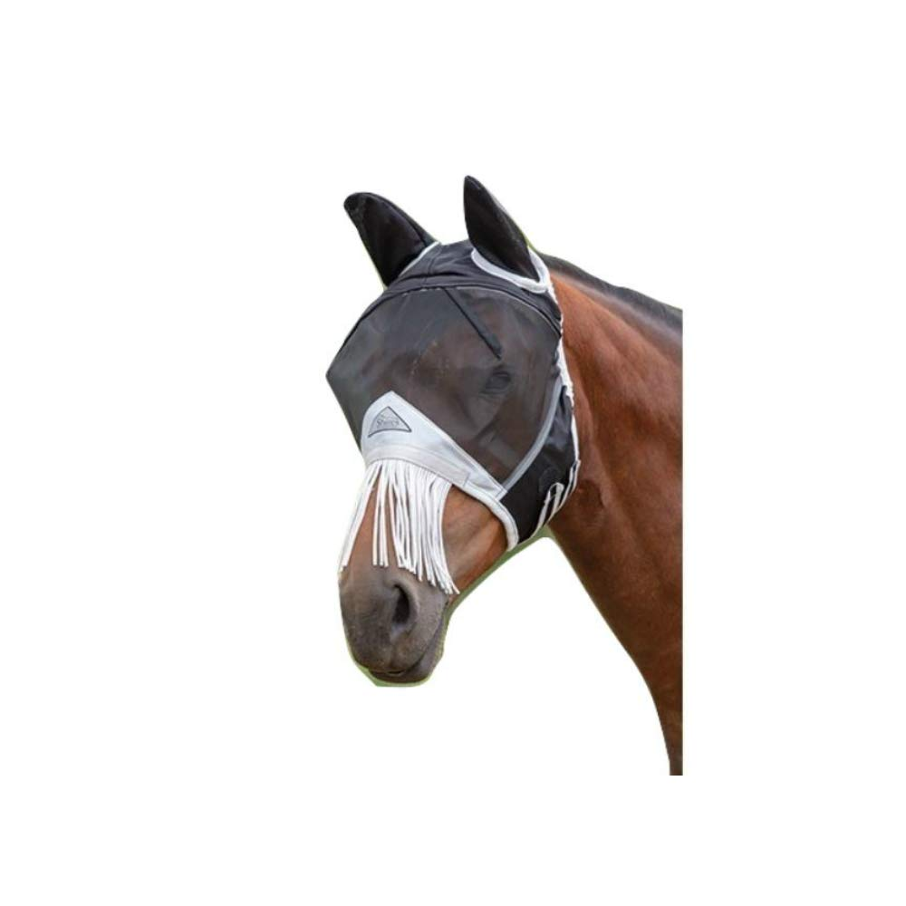 Black Full Black Full Shires Fly Mask with Nose Fringe