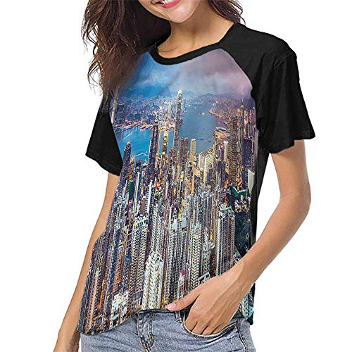 Short Sleeve Blouse,China,Hong Kong City Skyscrapers S-XXL Print Short Sleeve Baseball Ladies Tee