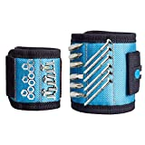 Magnetic Wristband with 15 Strong Magnets for Tools Screws Nails - Ideal Gift for Man, Dad, DIY Project - Blue (2 Size Set)