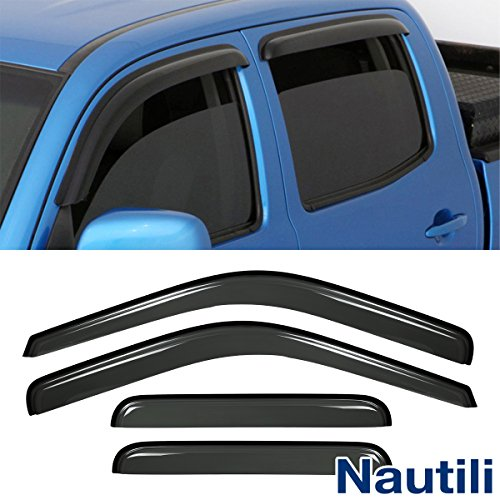 Neutron 4pcs For 99-16 F-250/350/450 SuperDuty Super Crew Cab Dark Smoke Out-Channel/Outside Mount Style Wind Sun Rain Guard Vent Shade Deflector Window Visorss
