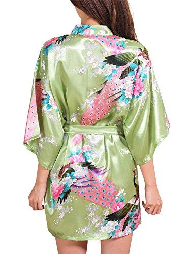 DELEY Mujer Albornoces Kimono Pavo & Flores Satén Pijamas Exóticos Ropa De Dormir Bata Corto Verde