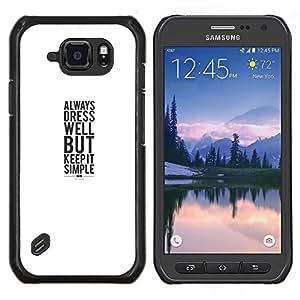 LECELL--Funda protectora / Cubierta / Piel For Samsung Galaxy S6Active Active G890A -- vestido sonrisa blanca cartel minimalista --