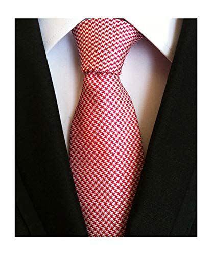 (Men Fashion Style Red Silver Designer Inspired Ties Necktie Pretty Birthday Gift)