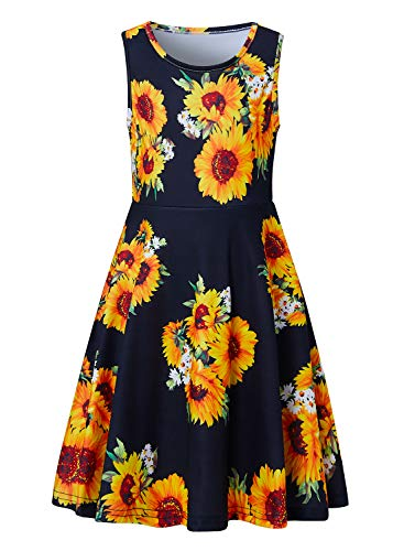 RAISEVERN Girl's Sunflower Dress Sleeveless Sundress Cute Round Neck Floral Dresses Summer Holiday Beachwear for Child 8-9T]()