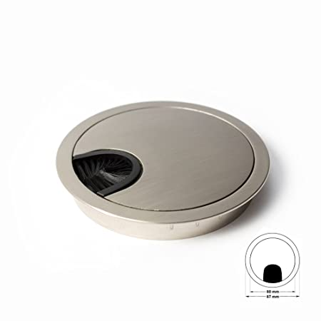 Diameter: 60 mm Design: Aluminium Offices /& Worktops Material: Metal | Sossai KDM1-AL 1 pc Desk Cable Grommet // Cable Outlet // Cord Hole Cover Plate with Tidy Brush for Desks