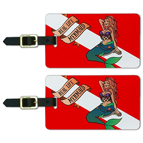 Diving Luggage Tag (Sexy Mermaid Diving Flag Luggage ID Tags Suitcase Carry-On Cards - Set of 2)