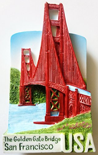 The Golden Gate Bridge SAN FRANCISCO Resin 3D fridge Refrigerator Thai Magnet Hand Made Craft. by Thai MCnets (High Bridge Cast)