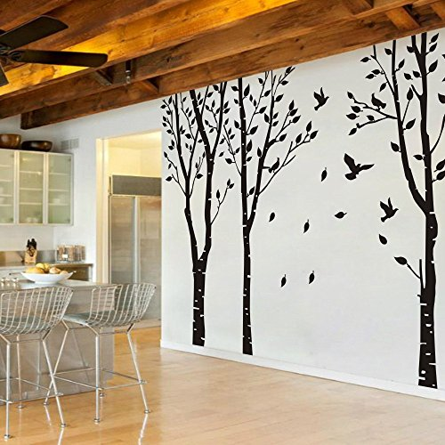 MairGwall Set of 3 Birch Trees with Flying Birds Wall Sticke