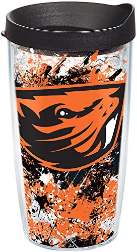 Tervis 1167086 Oregon State Beavers Splatter Tumbler with Wrap and Black Lid 16oz, Clear