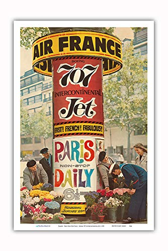 Pacifica Island Art - France - Paris Non-Stop Daily - Boeing 707 Intercontinental Jet - Vintage Airline Travel Poster c.1959 - Master Art Print - 12in x 18in