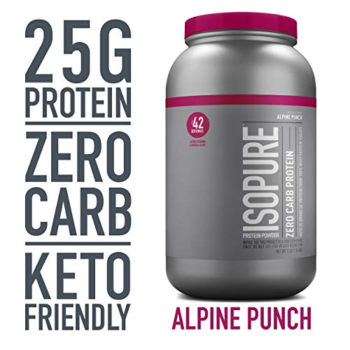 Isopure Zero Carb, Keto Friendly Protein Powder, 100% Whey Protein Isolate, Flavor: Alpine Punch, 3 Pounds (Packaging May Vary)
