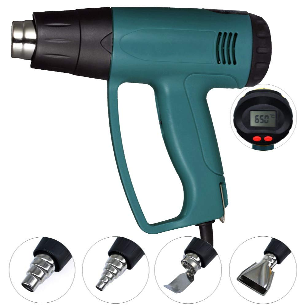 Flybiz 100℃~650℃ 2000W LCD Heat Gun, Remove Paint, Varnish, Dissolve Adhesives, Shape Plastic Tubing & More, Adjustable Temperature Electric Hot Air Heater Kit,Home Improvement & Restoration