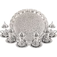 Turkish Moroccan Indian Tea Set for Six - Glasses with Brass Holders Lids Saucers Tray, Tea Cups, Tea Servers- Silver -(TS-202)
