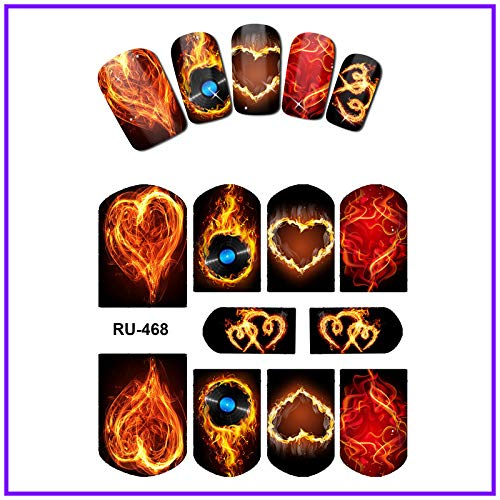WATER STICKER DECAL FULL COVER RED BLUE SWEET HEARTS FIRE FLAME BLAZE RU463-468 -