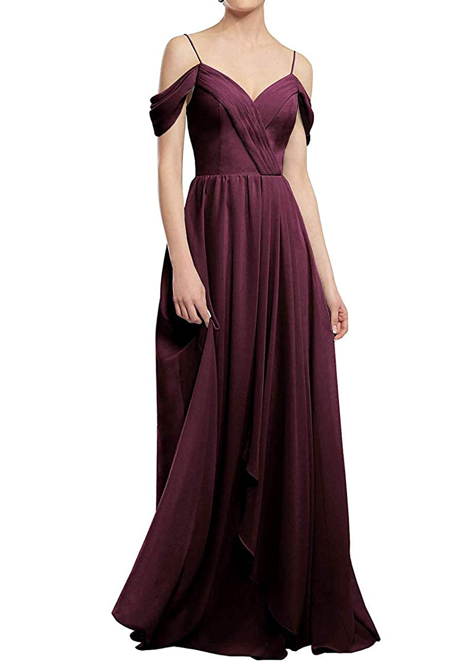 Burgundy PrettyTatum ALine Cold Shoulder Long Party Prom Gown Sweetheart Neckline Bridesmaid Dresses