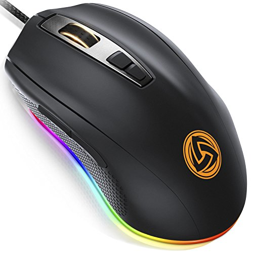 LUDOS FLAMMA Gaming Mouse RGB 10,000 DPI 7 Programmable Buttons Wired USB Ergonomic Gaming Mice with Omron Switches, 8 Adjustable DPI Levels (500-10,000), RGB Backlight for PC or Laptop Gamers