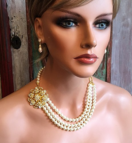 Pearl Backdrop Necklace with Gold Brooch in 3 multi strands Swarovski pearls. White, Ivory or your choice of color. Wedding jewelry Sets by Alexi Blackwell Bridal -