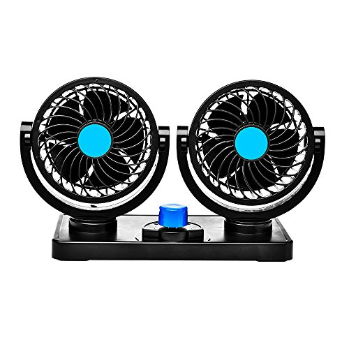 Catinbow Car Fan 12V 360 Degree Rotatable Dual Head 2 Speed Quiet Strong Dashboard Auto Cooling Air Fan for SUV RV Boat Auto Vehicles Golf