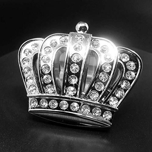 Bling Crown Car Emblem, Bling Car Accessories, Rhinestone Silver Chrome Metal Car Decal Sticker, Car Bling Exterior & Interior Car Accessory, Crystal Crown Emblem, Bling Car Decor (Crown-Large)