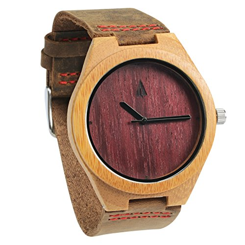 Treehut Men's Purple Heart Bamboo Wooden Watch - Genuine Brown Leather - Black Junior Sport Dial