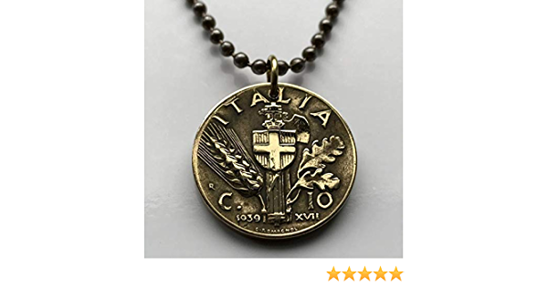 Kingdom of Italy.art Coin mm 81th Birthday Vintage Italy Coin Pendant made from Genuine 1938s 10 cents lire Coin.Savoy 22 256  Diam