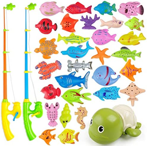 AUUGUU Magnetic Fishing Game Water Toy – 2 Fishing Poles, 1 Wind Up Swimming Turtle and 30 Colorful Magnetic Fish for Kiddie Pool, Water Table or Bath Fun – Toddler Toy for Ages 3-5