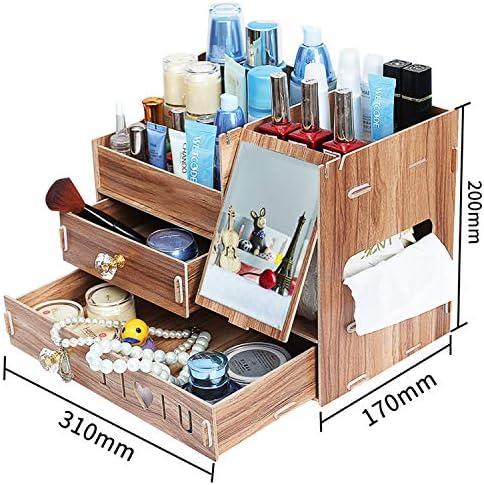 Kangsur Desktop Kosmetik Lagerschrank Büro Werkzeugkasten Hölzern DIY Multifunktional Aufbewahrungskiste H01-2