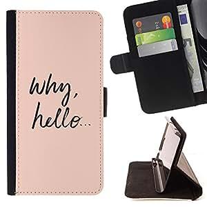 - why hello cutie cute text smart peach - - Prima caja de la PU billetera de cuero con ranuras para tarjetas, efectivo desmontable correa para l Funny HouseFOR HTC One M7