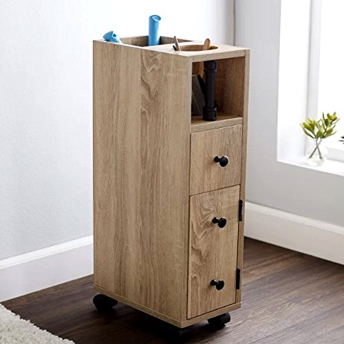 Cabinet Narrow Wood (Toilet Tissue Tower Cabinet, Wood Narrow Bathroom Hair Essential Vanity, Industrial Contemporary Top Toilet Paper Organizer & E-Book)