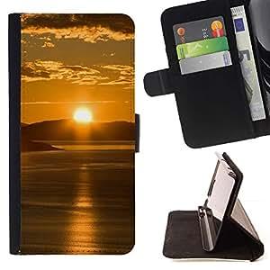 For Samsung Galaxy E5 E500 Case , Sunset Beautiful Nature 65- la tarjeta de Crédito Slots PU Funda de cuero Monedero caso cubierta de piel