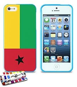 Carcasa Flexible Ultra-Slim APPLE IPHONE 5S / IPHONE SE de exclusivo motivo [Guinea Bissau Bandera] [Azul] de MUZZANO  + ESTILETE y PAÑO MUZZANO REGALADOS - La Protección Antigolpes ULTIMA, ELEGANTE Y DURADERA para su APPLE IPHONE 5S / IPHONE SE