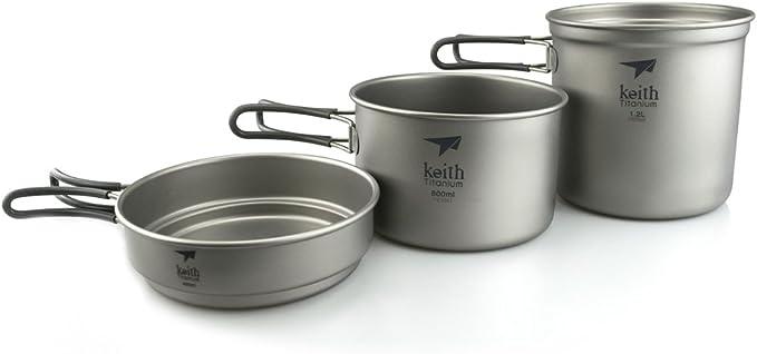 Keith Conjunto sartén y cazo en Titanio – 3 Piezas: Amazon.es ...