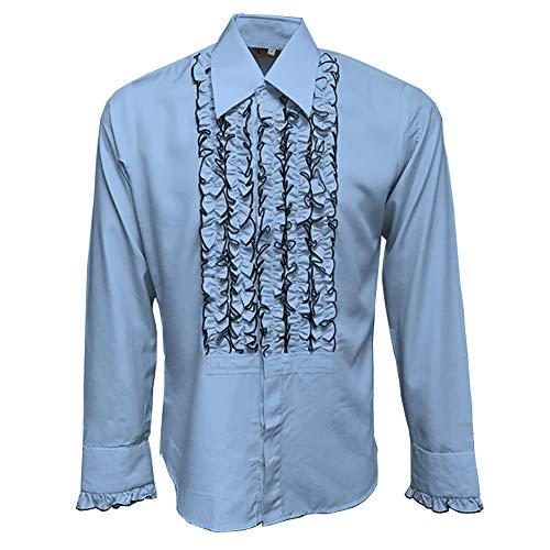 ZenRetro Mens Ruffle Ruche Frill Tuxedo Shirt Light Blue S