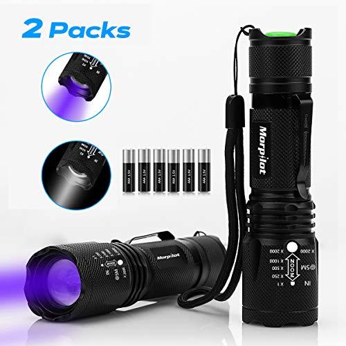 Linterna Táctica y UV 2 en 1, morpilot 2 Paquete Linterna LED 500LM, Linterna Ultravioleta, Luz UV con 4 Modos, Zoom IN…