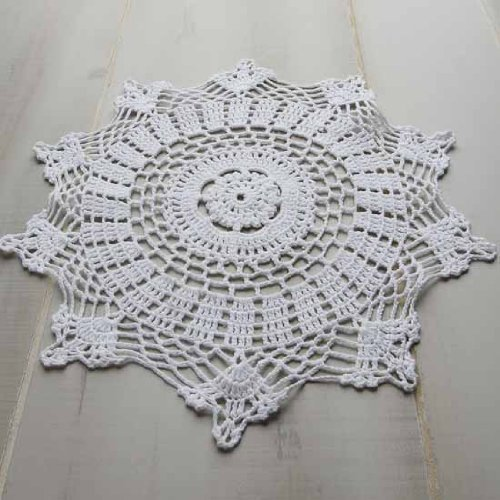Package of 12 Hand Crocheted Round White Doilies - 100% Cotton- 10'' Round Diam. by Factory Direct Craft
