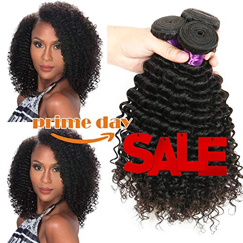 Deep Wave Hair 3 Bundles Curly Hair Extensions Brazilian Unprocessed Human Hair Bundles Curly Hair Weave Deep Wave Bundles Natural Black Hair (8 10 12)