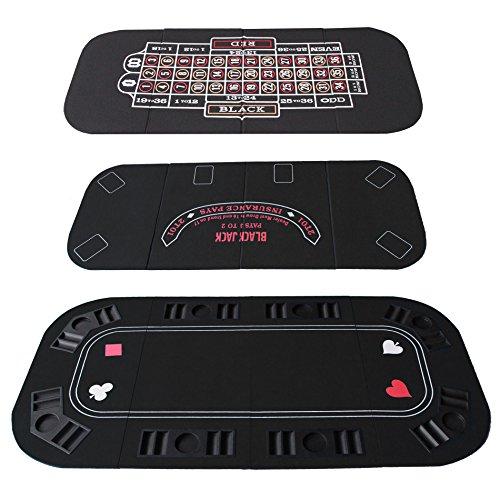 IDS Poker Casino Texas Hold'em Table Top for 3 in 1 (Poker/Blackjack/Roulette) Folding Black Felt Carrying Bag