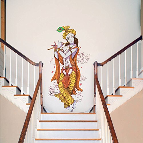 Rawpockets Decals ' Lord Krishna With Flute ' Large Size Wall Sticker ( Wall Coverage Area - Height...