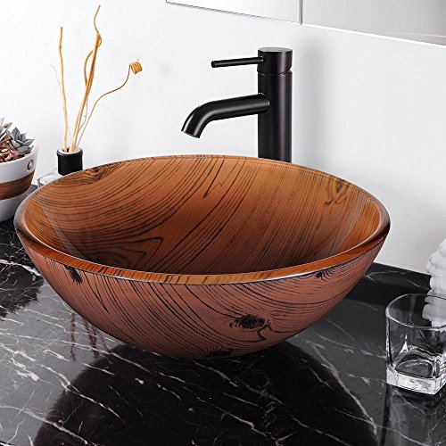 Aquaterior Tempered Glass Round Vessel Sink Wood Grain Pattern Above Counter Bathroom Lavatory Vanity Hotel Bowl Basin ()