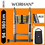 WORHAN Double Telescopic Ladder 5.6m WITH ALUMINUM RINGS Foldable Extendable Multipurpose Aluminium A Frame Robust & Carry AK5.6+Bag