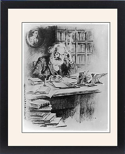 Framed Print Of Karl Marx In His Study by Prints Prints Prints