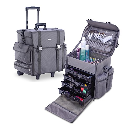 MUA LIMITED Professional Beauty Makeup Artist Case on Wheels, Soft Cosmetic Case with Trolley and Storage Drawers, Side Compartments and Brush Holders, ULTIMATE Series - Gray by MUA Limited